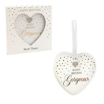 Happy Birthday Gorgeous Heart Plaque